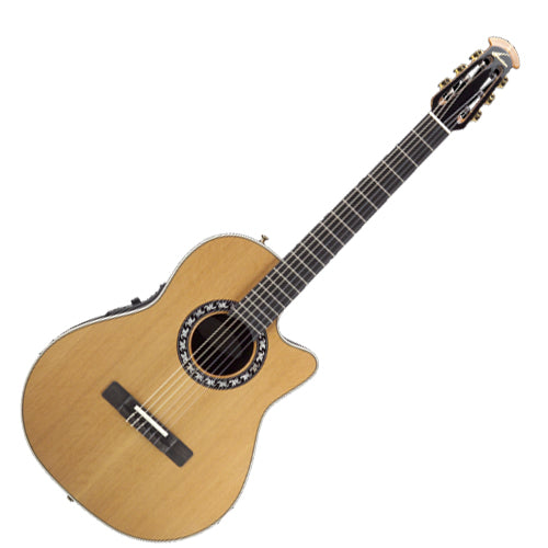 Ovation Pro Nylon Acoustic Electric Mid Depth Bowl Cedar Top in Natural - 1773AX4