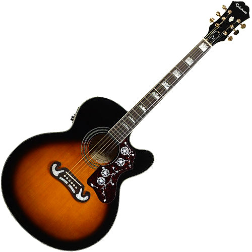 Epiphone EJ200CEVSGH J200 Jumbo Solid Spruce Cutaway Acoustic Electric in Vintage Sunburst