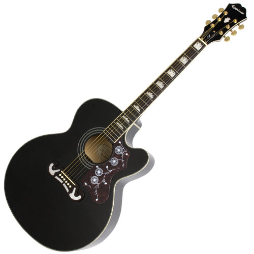 Epiphone EJ200CEEBGH J200 Jumbo Solid Spruce Cutaway Acoustic Electric in Black