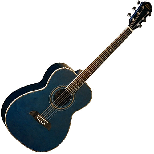 Oscar Schmidt OF2TBL Folk Size Acoustic Guitar in Transparent Blue