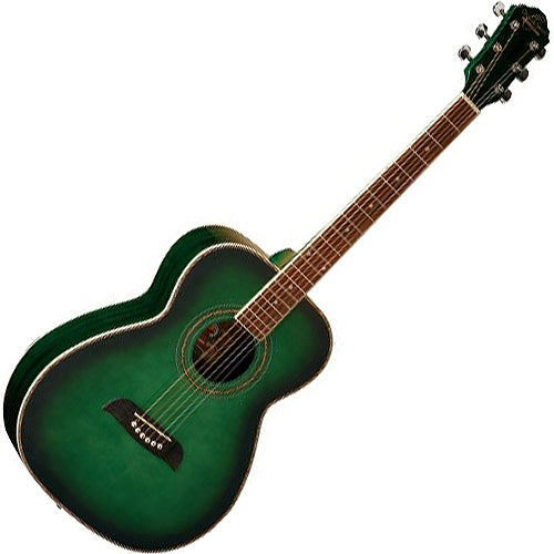 Oscar Schmidt OF2TGR Folk Acoustic Guitar Transparent Green