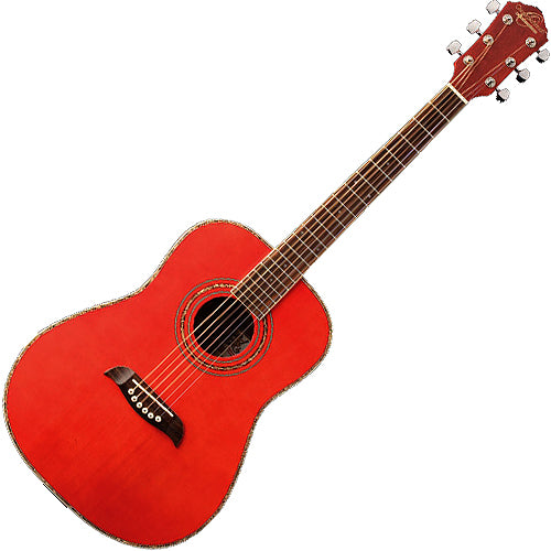 Oscar Schmidt OG1TR 3/4 Size Acoustic Guitar in Trans Red