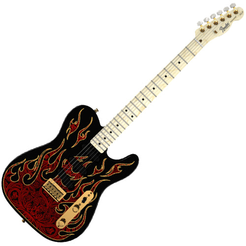 Fender James Burton Telecaster Electric Guitar Maple Fingerboard Red Paisley Flames - 108602887