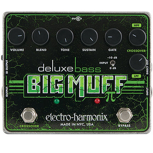 ElectroHarmonix DLXBASSBIGMUFF Deluxe Bass Guitar Big Muff PI Distortion Sustainer Effects Pedal