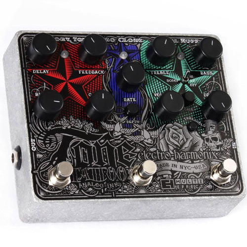 ElectroHarmonix TONETATTOO Multi Effects Pedal with Distortion, Delay and Chorus Effects Pedal