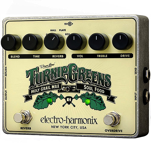 ElectroHarmonix TURNIPGREENS Multi Effects Pedal - Soul Food Overdirve & Holy Grail Max Reverb