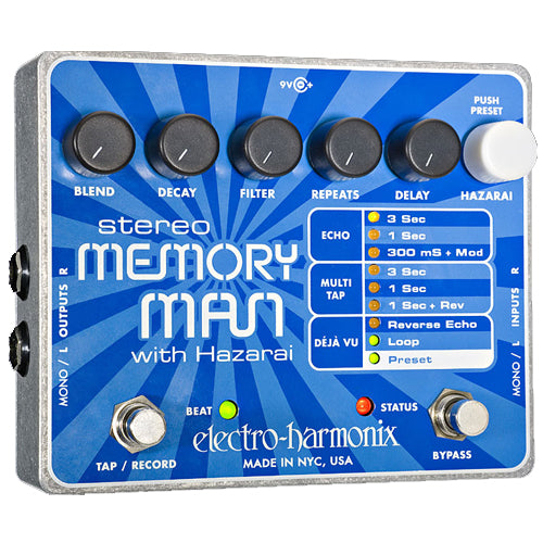 ElectroHarmonix STMEMMANHAZARAI Stereo Memory Man With Hazarai Digital Delay Looper Effects Pedal