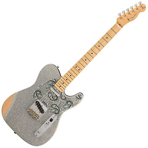 Fender Brad Paisley Roadworn Telecaster Electric Guitar in Silver Sparkle - 145902317