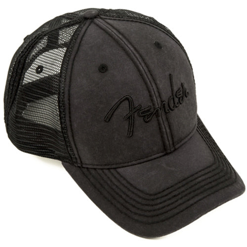 Fender 9106644000 Logo Blackout Trucker Hat Grey- Clothing