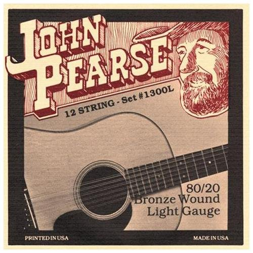 John Pearse 1300L 12 String 80/20 Bronze Acoustic Strings - Guitar 010 -047