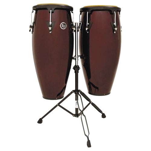 Latin Percussion Aspire Conga Set w/ Stand Dark Wood Finish - LPA646DW