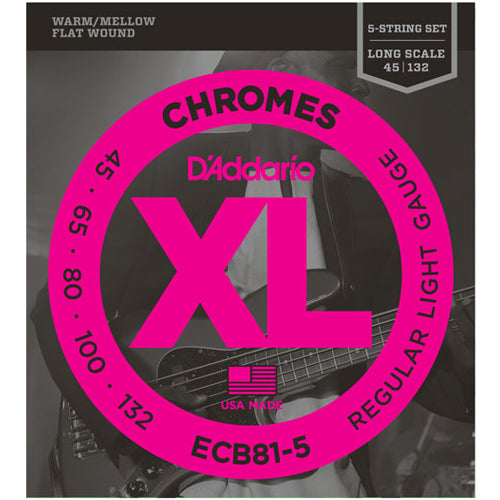 D'addario ECB815 Chromes 5 String Electric Bass Guitar Strings 045-132