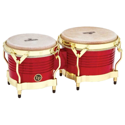 Latin Percussion Matador Wood Bongos Red and Gold Finish - M201RW