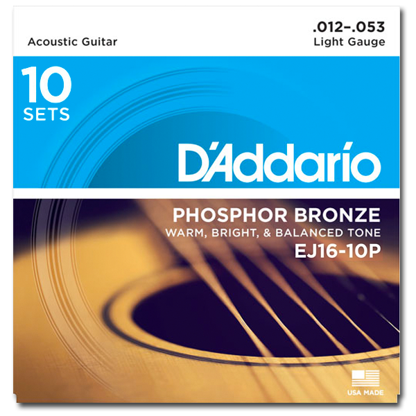 D'addario EJ1610P Phosphor Bronze Wound Acoustic Strings - Guitar 012-053 10 Pack