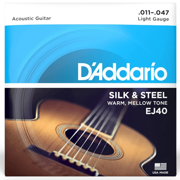 D'addario EJ40 Silk & Steel Folk Acoustic Strings - Guitar 011-047
