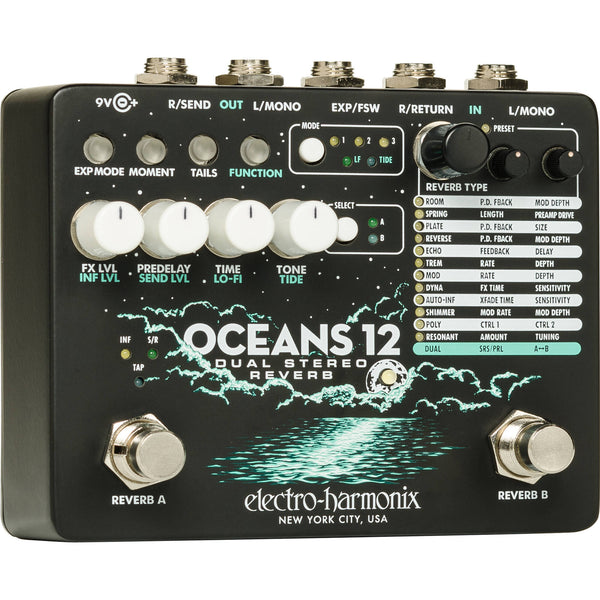 ElectroHarmonix OCEANS 12 Dual Stereo Reverb Effects Pedal w/Power Supply