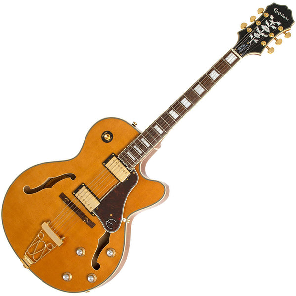 Epiphone Joe Pass Emperor II Pro Hollow Body Electric Guitar in Vintage Natural - EMPPROVNGH