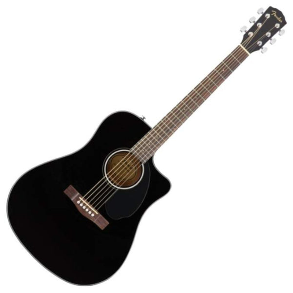 Fender CD60SCE Black Dreadnought Acoustic Electric Solid Spruce Top - 970113006