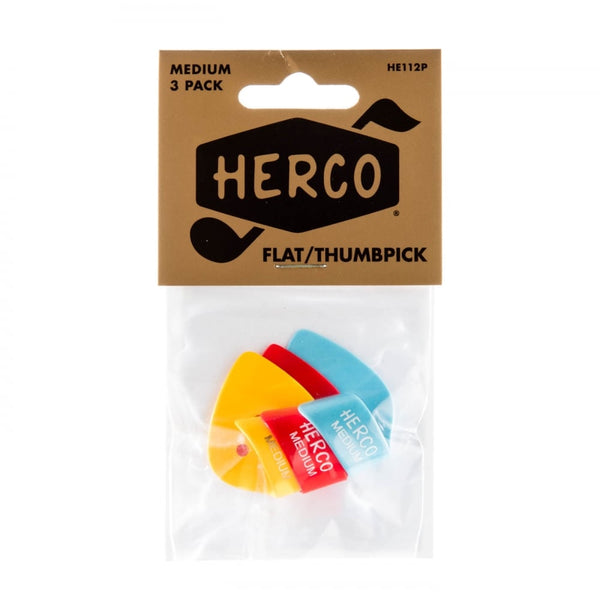 Herco HE112P Medium Flat Thumbpick 3 Piece Player Pack