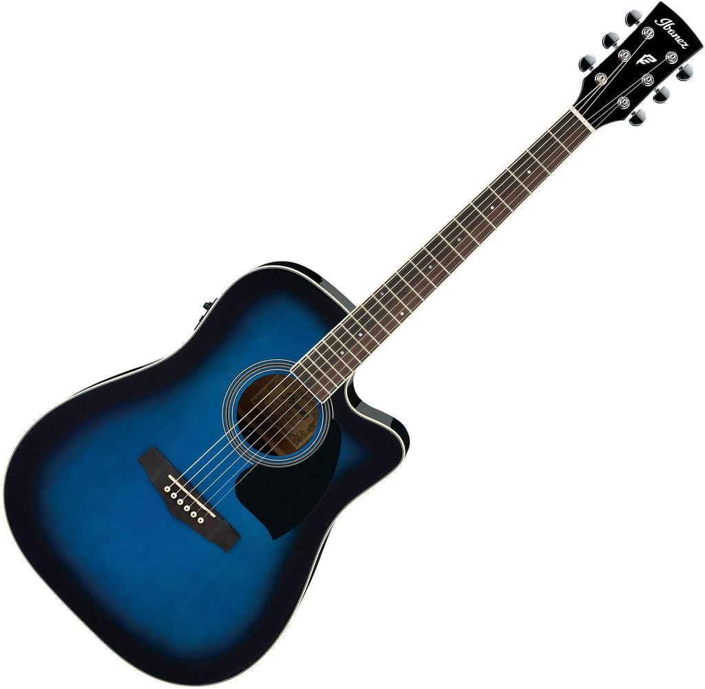 Ibanez Performance Dreadnought Cutaway Acoustic Electric in Transparent Blue Sunburst - PF15ECETBS