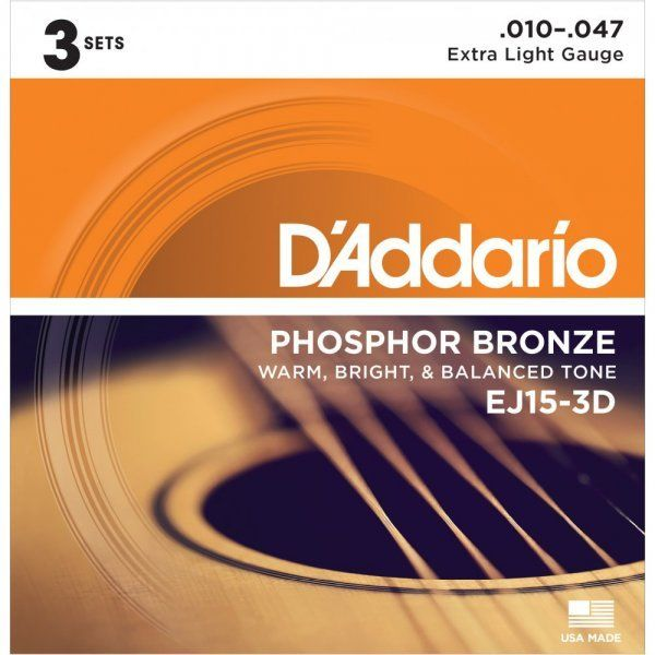 D'addario EJ153D Phosphor Bronze Wound Acoustic Guitar Strings 010-047 | 3 Pack