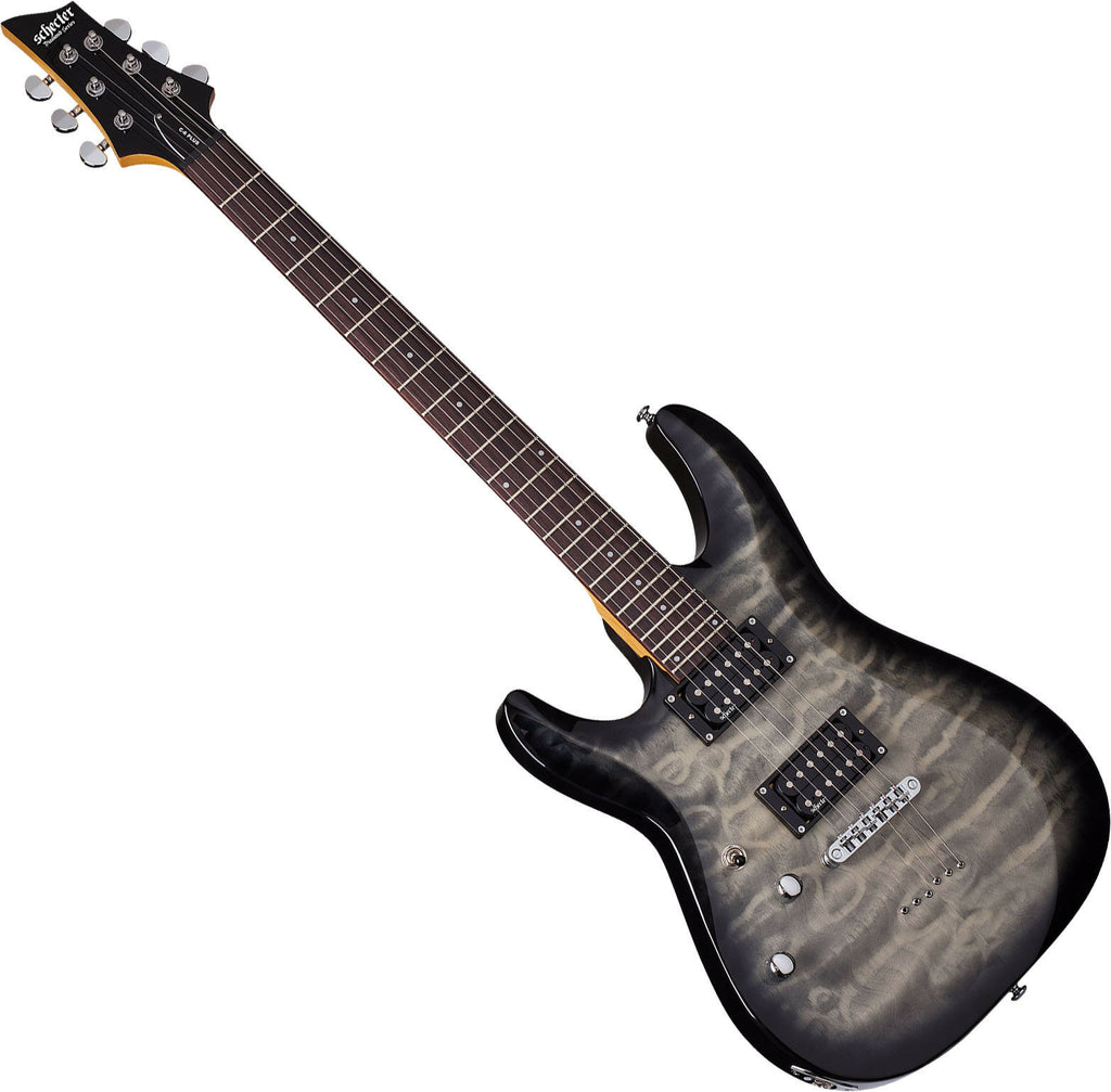 Schecter C-6 Diamond Plus Left Hand Electric Guitar in Charcoal Burst - 448SHC