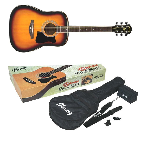 Ibanez Acoustic Guitar Jam Pack in Vintage Sunburst - V50NJPVS