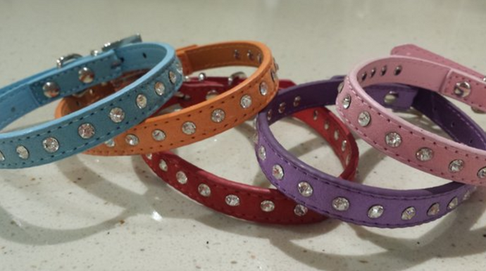 Suede Bling Rhinestone Dog collar