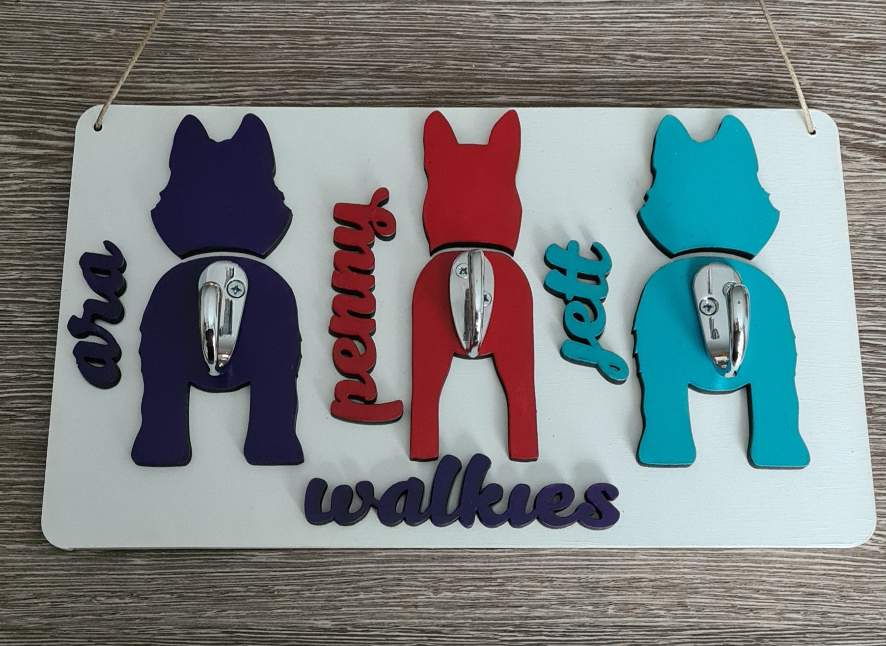 Three Dog Plaque Personalised with your Dogs Name