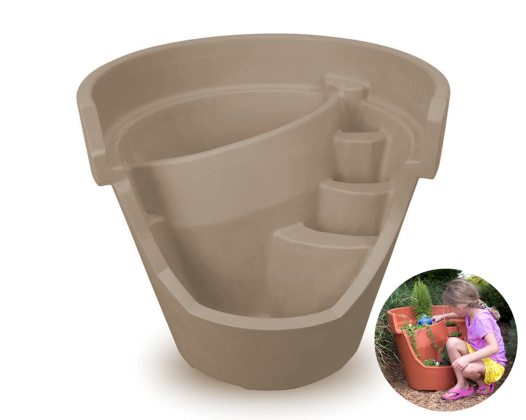 Oversized Eco Personal Garden Beige Putty Broken Pot (with scaled picture insert)