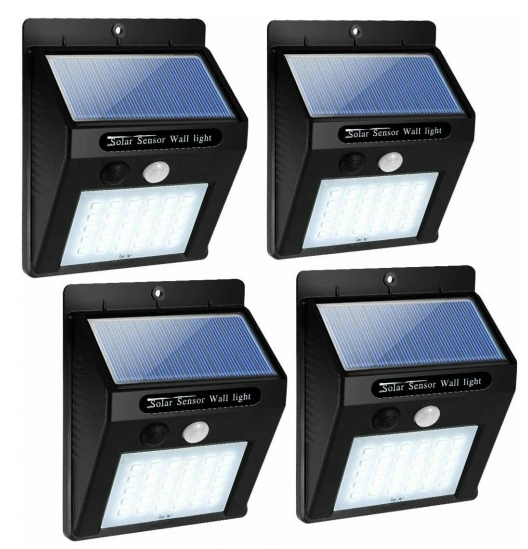 4 Pcs 30 LED Solar Lights Motion Sensor Solar Powered Wall Lights for Garden Pathway