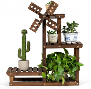 Fir Wood Plant Stand With Windmill