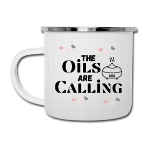 """The Oils Are Calling"" Camper Mug - white"