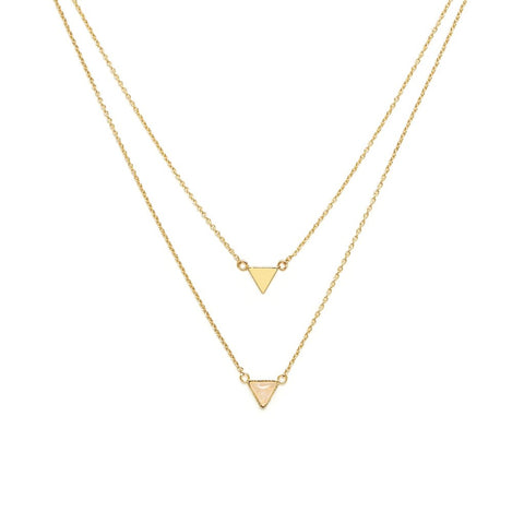 Collier Lucia double chaine triangle et pierre laiton couleur or