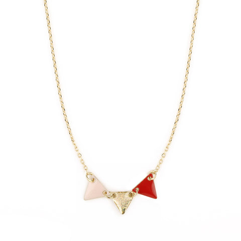 Collier Fanion rose poudré / paillette multicolore / coquelicot