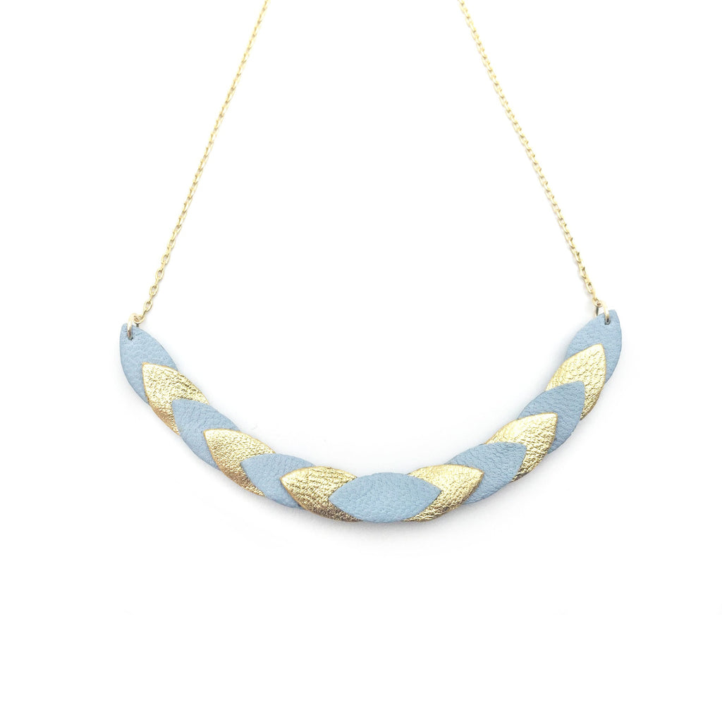 Collier Volta Bleu Pastel & Or
