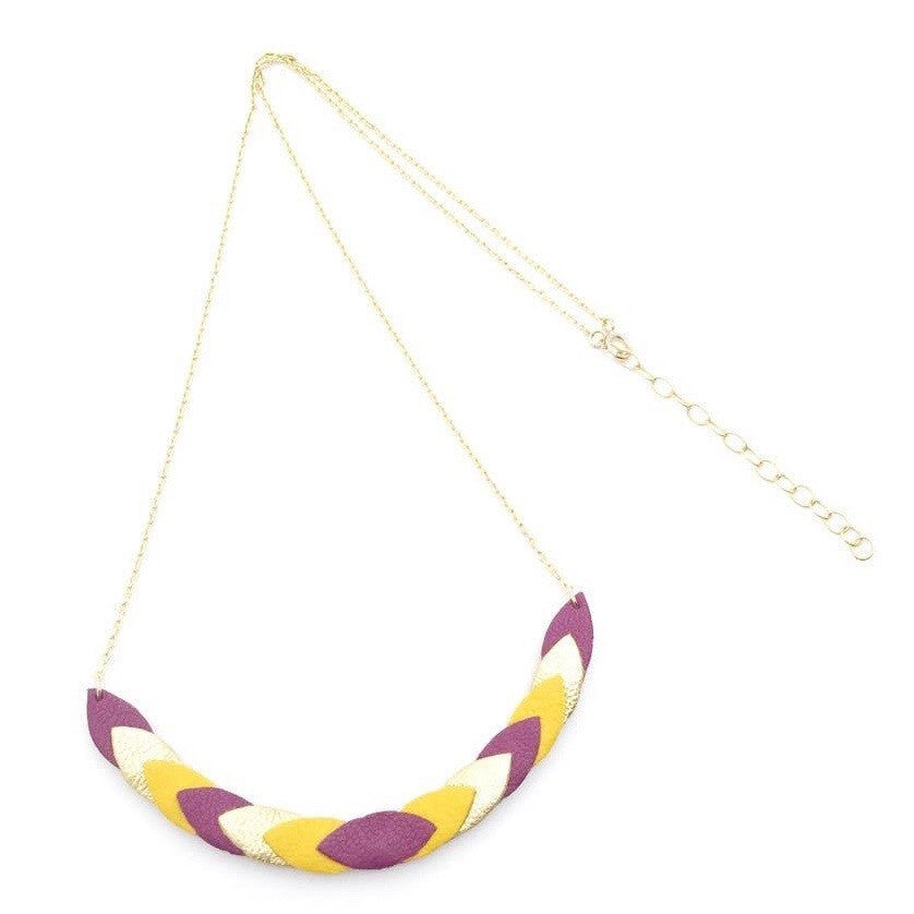 Collier Volta Prune, Moutarde & Or