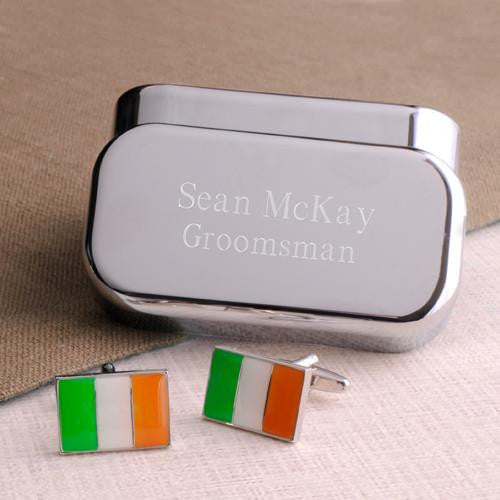 Dashing Cuff Links with Personalized Case  - IRISHFLAG