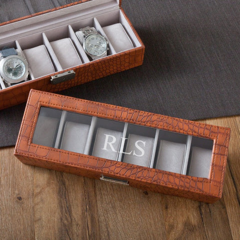 Personalized Brown Crocodile Watch Box