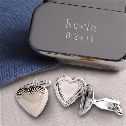 Dashing Cuff Links With Engraved Case  - Hearts