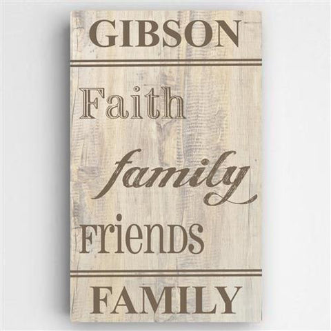 Family and Faith Canvas Sign