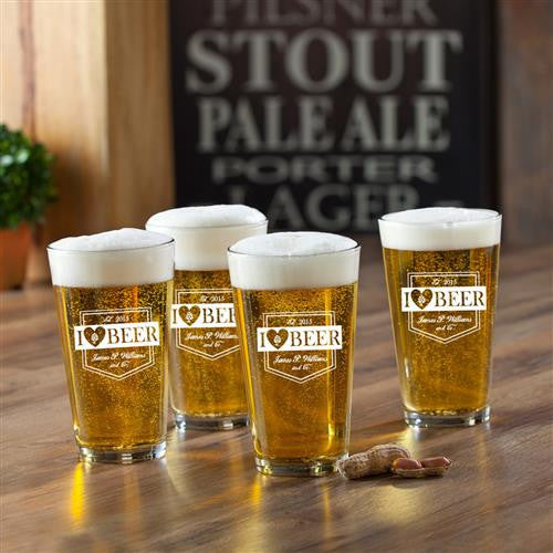 Personalized Pint Glasses Set of 4