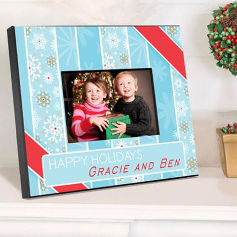 Holiday Picture Frame - Snowflakes & Stripes