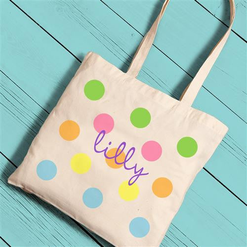 Girl Canvas Tote - Color Polka Dots