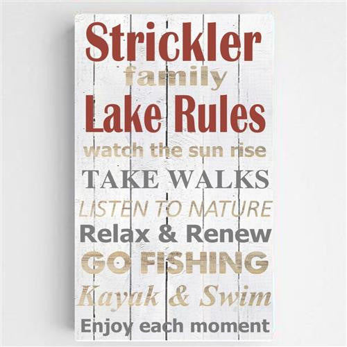 Lake House Rules Canvas Sign