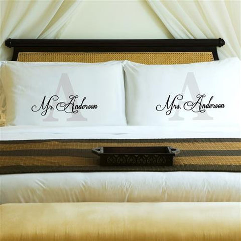 Couples Pillow Case Set - Initial