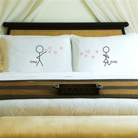 Couples Pillow Case Set - Stick Figures