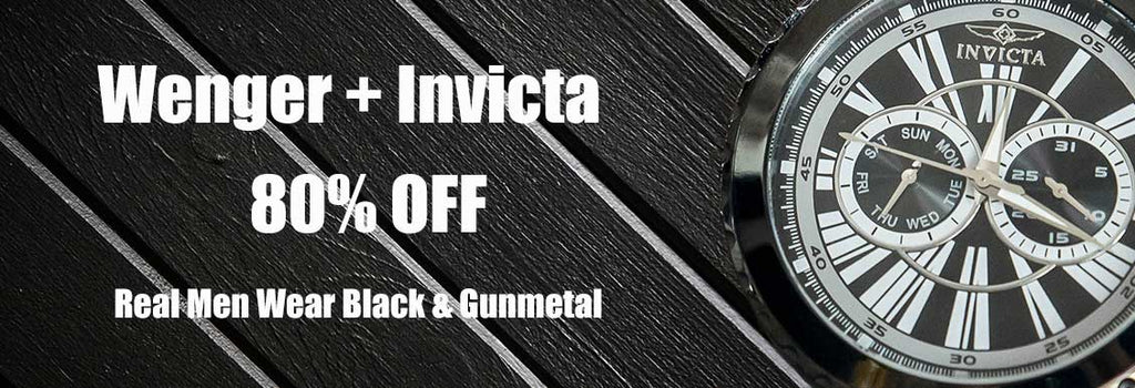 Real Men Wear Black and Gunmetal: Men's Sport Watches by Wenger & Invicta