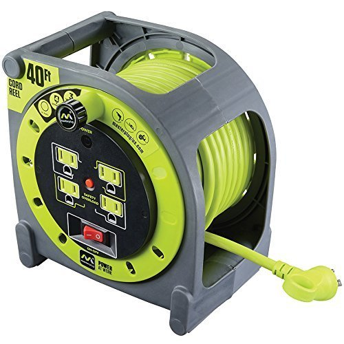 Heavy Duty 120 Volt 40 Foot Extension Cord Case Reel with 4 Integrated Outlets