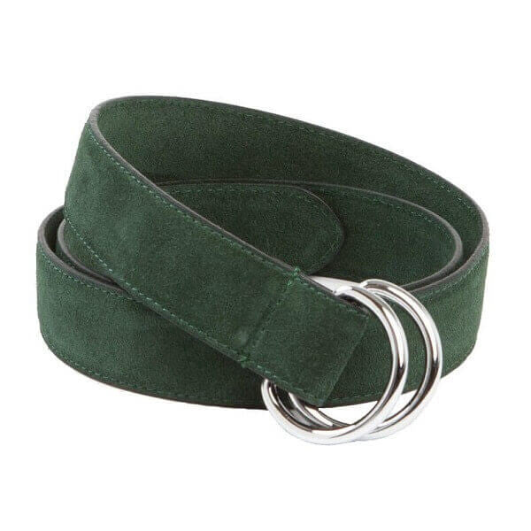 "Avallone Executive D-Ring 42"" Belt - Forest Green Handmade Suede & Leather - EXD001-105"